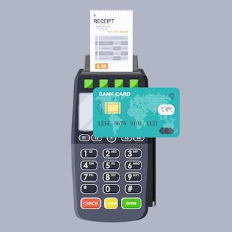 Pos-terminal und bankkartenzahlungstransaktion