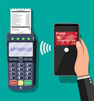 Pos-terminal und mobile smartphone-zahlungstransaktion. drahtloses, kontaktloses oder bargeldloses bezahlen, rfid nfc. vektorillustration im flachen stil
