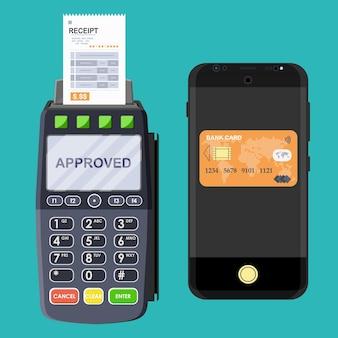 Pos-terminal und mobile smartphone-zahlungstransaktion