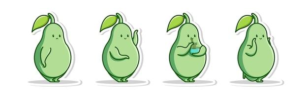 Pose cute cartoon von avocado set