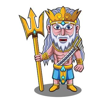 Poseidon chibi maskottchen logo mit dreizackwaffe