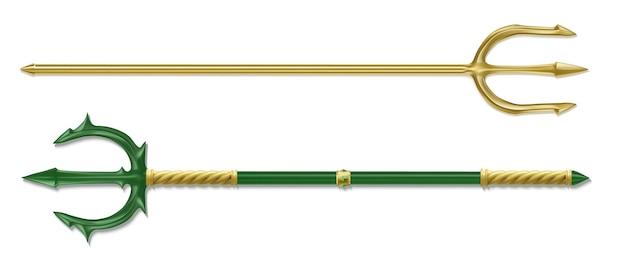 Poseidon dreizack meeresgott neptun waffe gold und grün gefärbte mistgabeln verziert mit zierfälschungen und edelsteinen isoliert