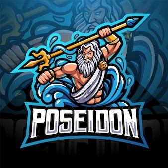 Poseidon esport maskottchen logo mit dreizackwaffe
