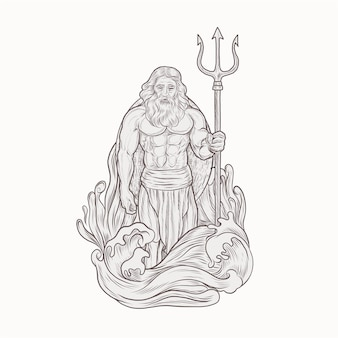 Poseidon hält dreizackspeer