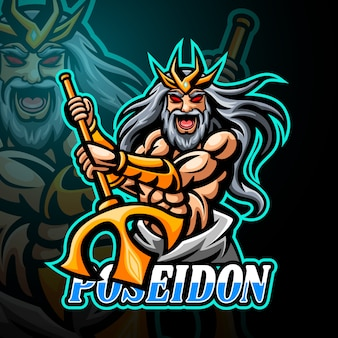 Poseidon maskottchen esport logo design