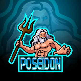 Poseidon-maskottchen-esport-logo-design