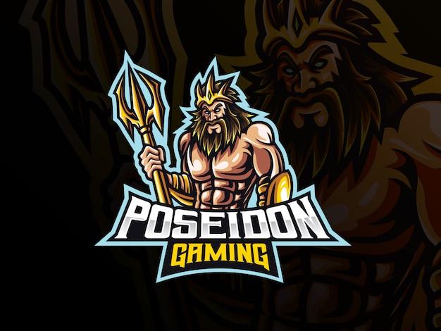 Poseidon maskottchen sport logo design