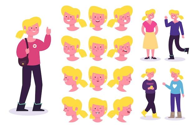 Posen mit unterschiedlichen outfits und emotionen