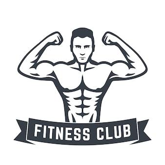 Posierender athlet, starker bodybuilder, mann, der seinen bizeps zeigt, fitnessclub-logo einzeln auf weiß