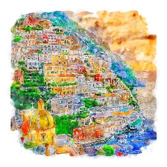 Positano italien aquarellskizze handgezeichnete illustration