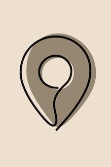 Position des pinmarkierungssymbols einzeilige durchgehende strichzeichnung