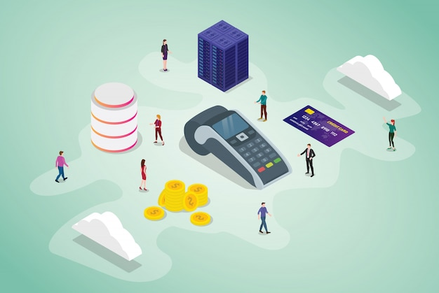 Positions-zahlungsterminalkonzept mit teamleuten und kreditkartentechnologiegeschäft mit isometrischer moderner art