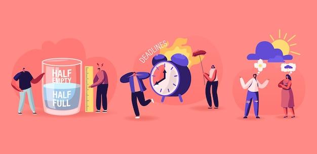 Positiv und negativ denkendes konzept für pessimisten und optimisten. männer stehen an einem riesigen halbvollen oder leeren glas mit wasser frauen diskutieren schlechtes oder gutes wetter, deadline cartoon flat vector illustration Premium Vektoren