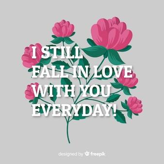 Positive botschaft mit blumen: verliebe dich