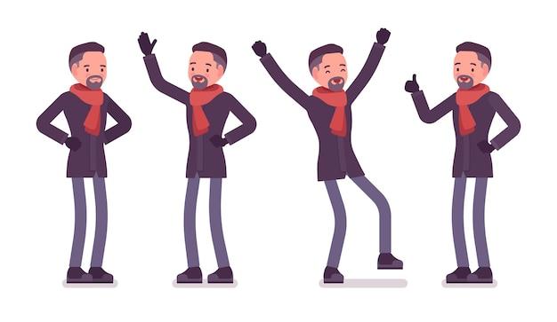Positive emotionen des stilvollen mannes mittleren alters, die herbstkleidungsillustration tragen