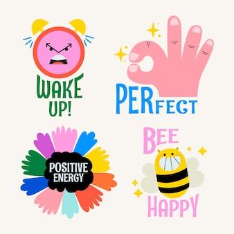 Positive energie in der aufklebersammlung