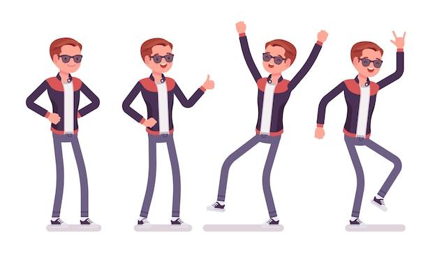Positive gefühle des jungen mannes. glücklicher kaukasischer tausendjähriger junge, der trendige lederjacke mit rundem geknöpftem kragen und röhrenjeans trägt, jugendliche städtische mode. stil cartoon illustration