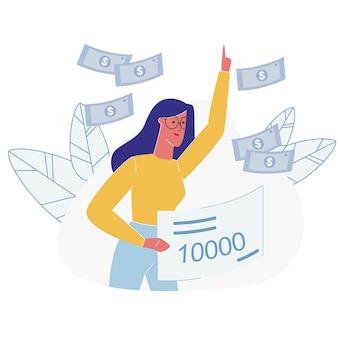 Positive glückliche frau gewinnen lotterie geld dusche