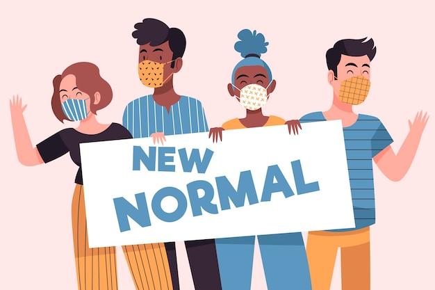 Positive menschen, die sich der neuen normalen lebensweise stellen