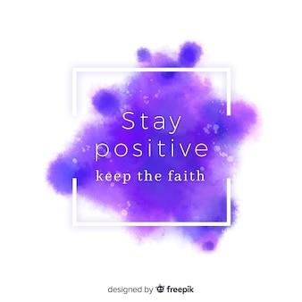 Positive mitteilung auf purpurrotem aquarellfleck