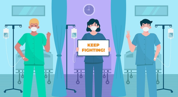Positive patienten, die gegen das covid-19-virus kämpfen