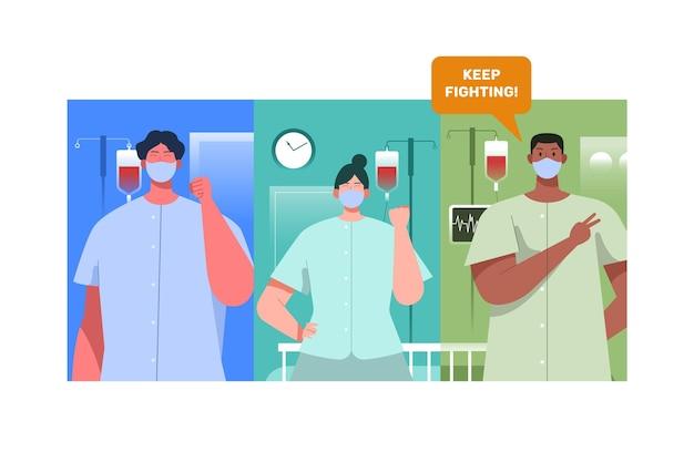 Positive patienten, die gegen die covid-19 kämpfen