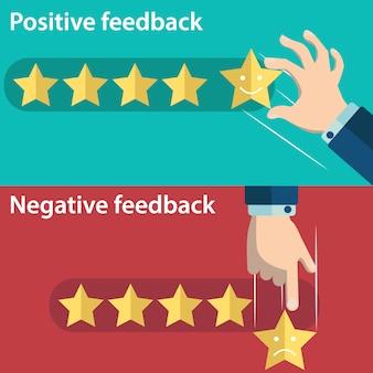 Positive und negative bewertung design