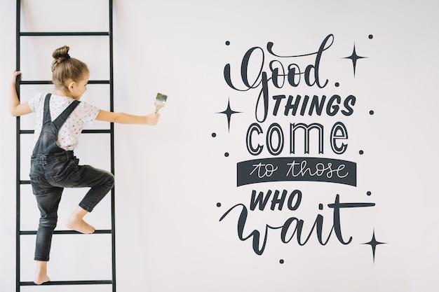 Positiver schriftzug mit motivationszitat