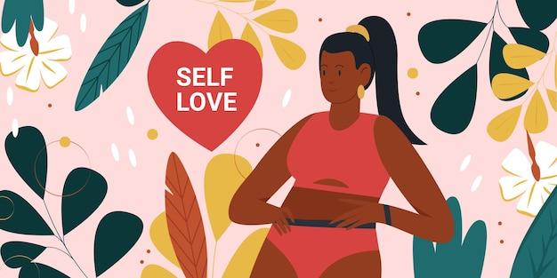 Positives bewegungskonzept des selbstliebeskörpers mit netter glücklicher fetter frau im bikinistand