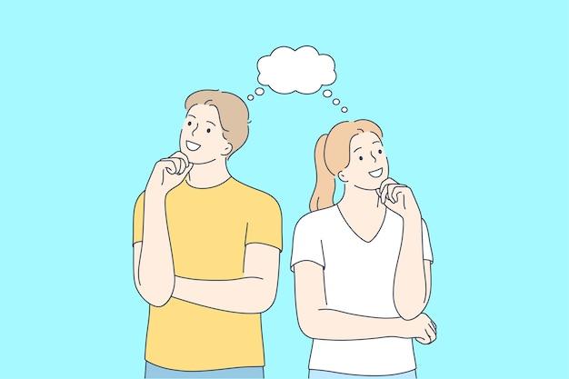 Positives denken, paar in gedanken, fröhliches menschenkonzept.