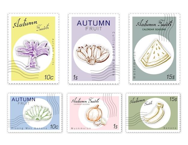 Post briefmarken set herbst früchte mit paper cut art