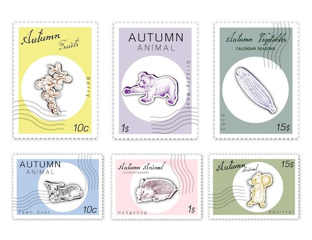 Post briefmarken set herbst tiere und pflanzen