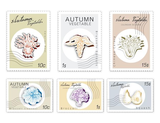 Post briefmarken set herbstgemüse mit paper cut art