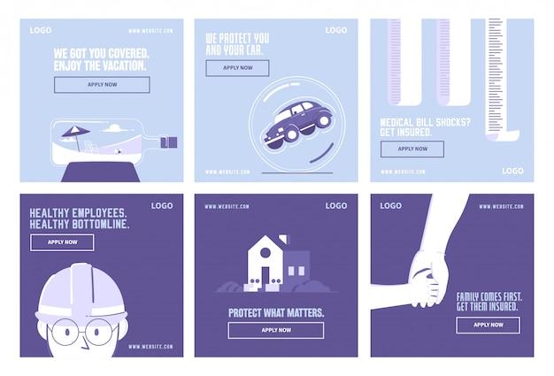 Post-collection-vorlage für versicherungen und gesundheit in sozialen medien