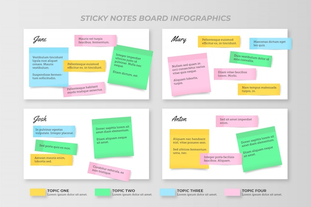 Post-its boards infografiken flaches design