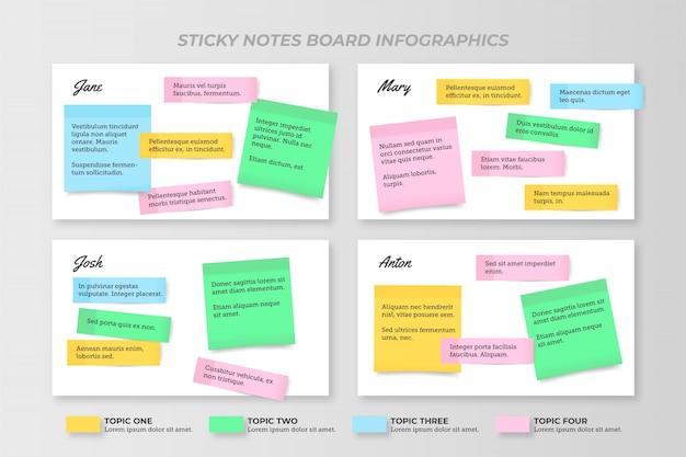 Post-its boards infografiken flaches design