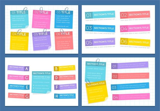 Post-its boards infografiken in flachem design