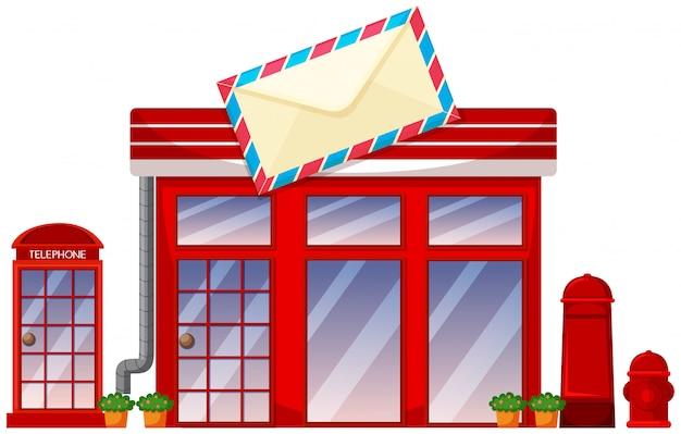 Post-office-shop auf weißem hintergrund