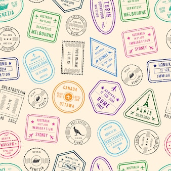 Post pattern und einwanderungsmarken aus verschiedenen ländern