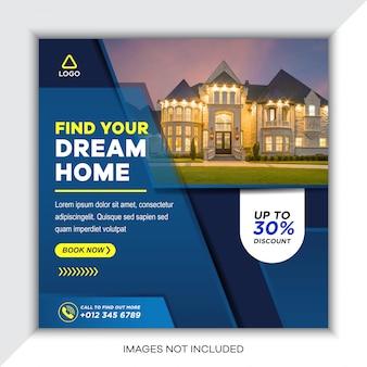 Post-vorlagen für immobilien in sozialen medien