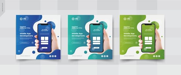Post-vorlagen für soziale apps für mobile apps
