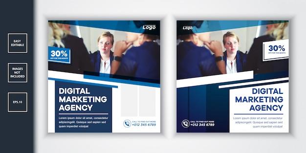Post & web-banner der agentur für digitales marketing für soziale medien