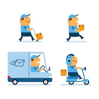 Postal service übertrieben cartoon character collection set