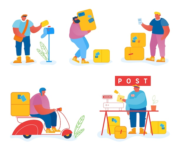 Postangestellte und kunden setzen isoliert auf weißem hintergrund.