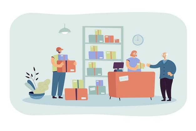 Postangestellter, der dem kunden paket gibt. älterer mann, der post erhält. karikaturillustration