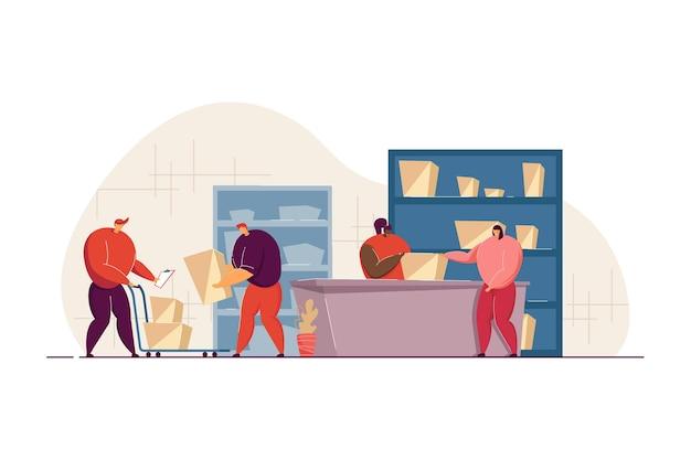 Postarbeiter, der dem kunden paket in der flachen illustration des postamtes gibt Premium Vektoren