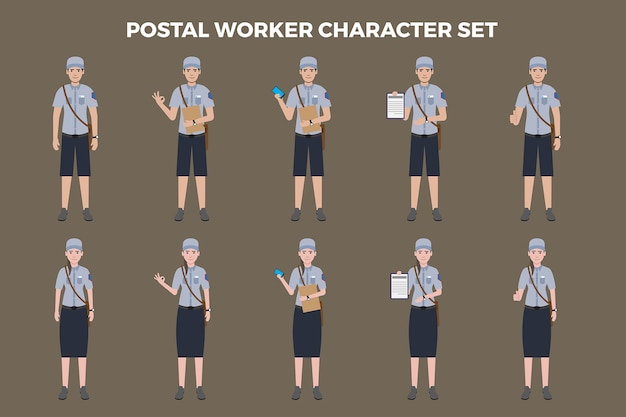 Postarbeiter-illustrationssatz