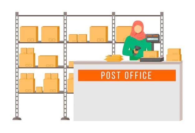 Postarbeiterin mit hijab-farbillustration. frau prüft und scannt pakete. post-service-lieferung. paket-sammelpunkt-zeichentrickfigur auf weißem hintergrund