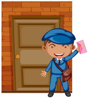 Postbote, der brief an der tür liefert