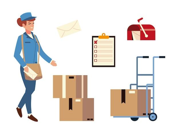 Postdienst frau briefkasten umschlag pappkartons symbole
